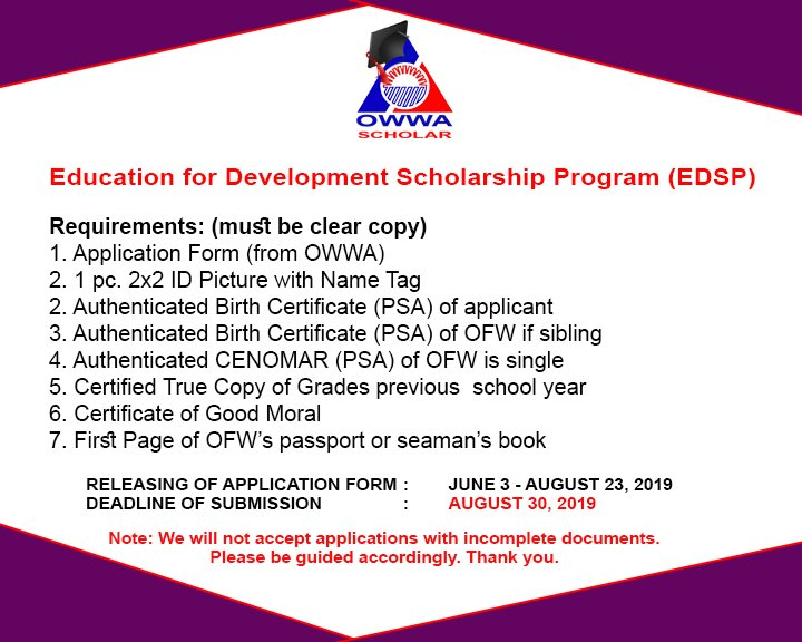 OWWA Scholarship Program 2019-2020 - News-to-gov