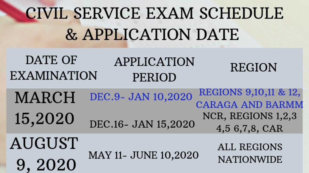 Civil Service Exam Schedule 2020
