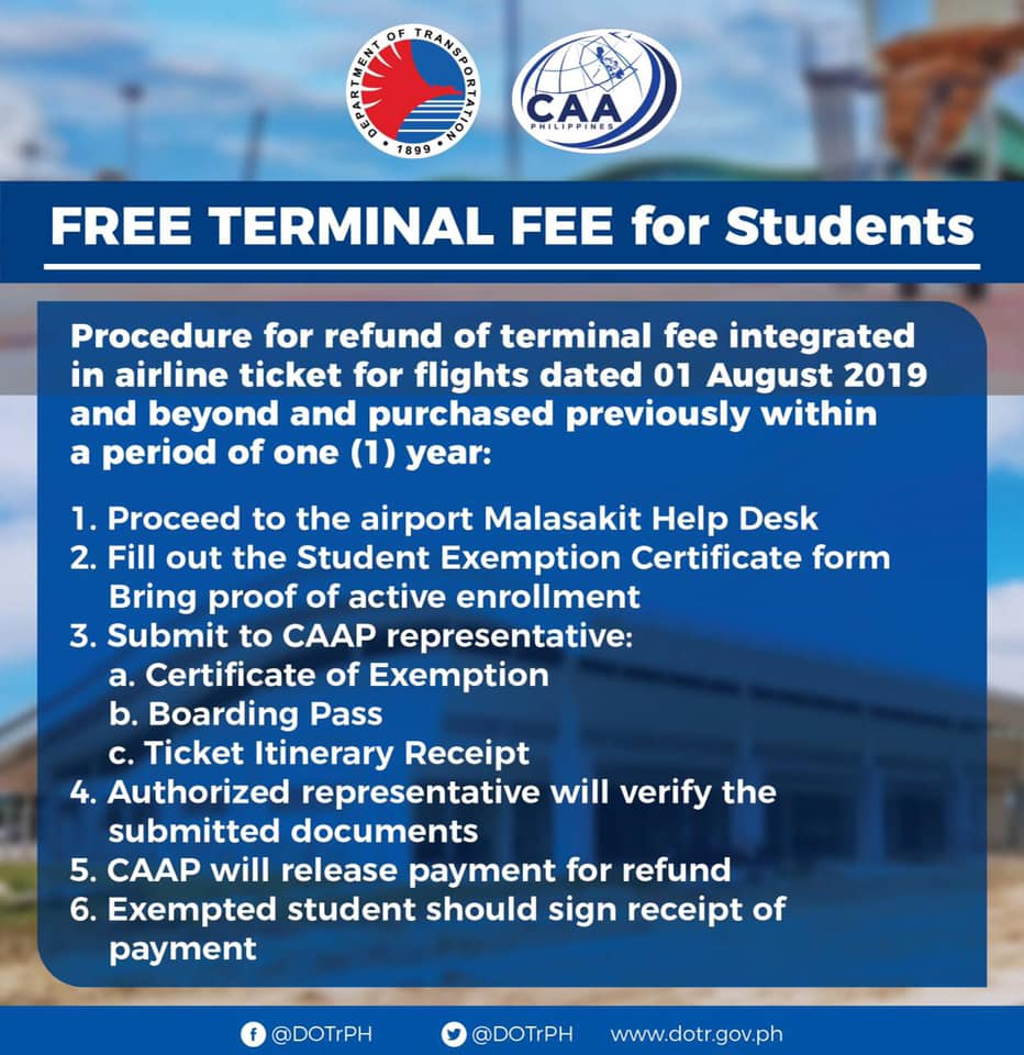 caap free terminal fee for students