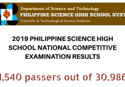 pshs exam passers 2019