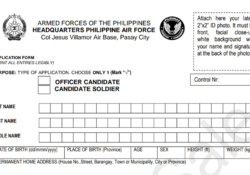 Philippine Airforce Application form 2020
