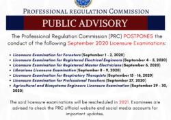 PRC postpones september board exam