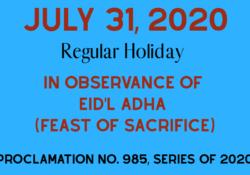 eid holiday july 31,2020