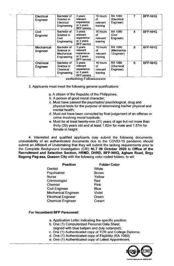 bfp non uniformed personnel hiring