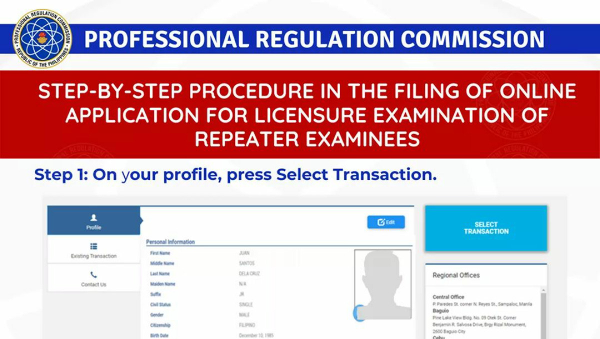 how to apply for the prc board exam online for repeaters