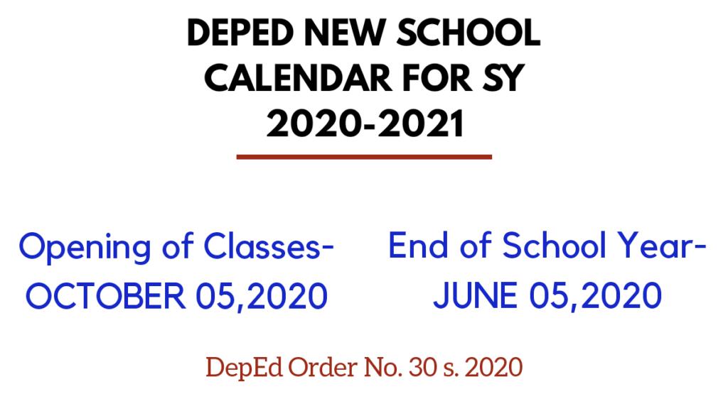 deped school calendar sy 2020-2021