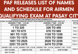 paf list of names for exam