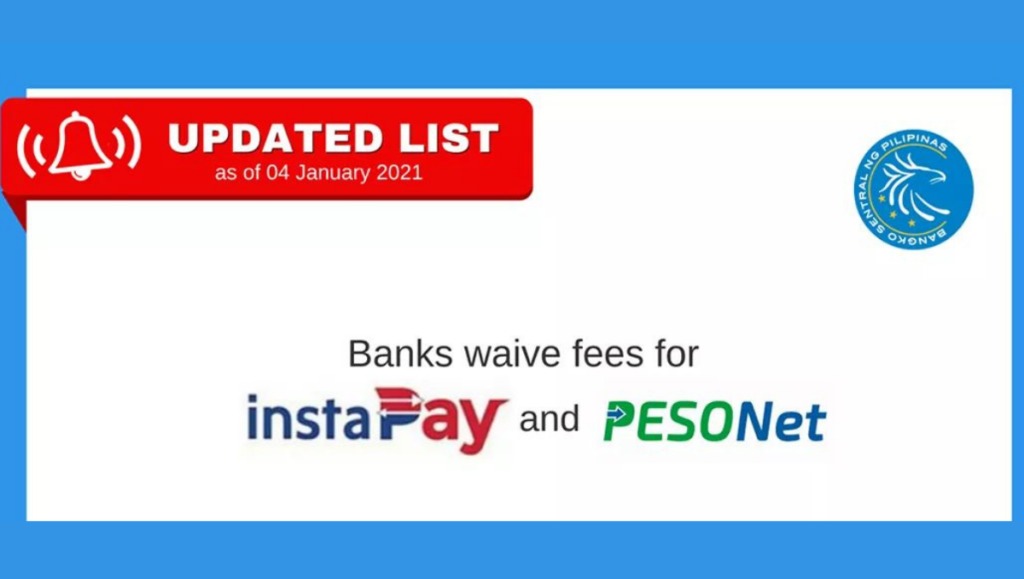 Banks waive fees for instapay and pesonet