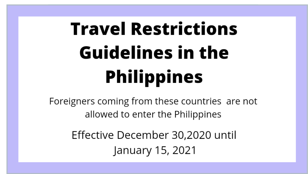 Travel Restrictions Philippines