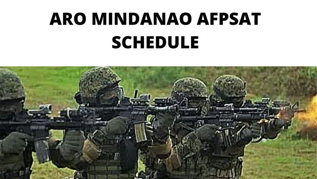 ARO Mindanao Exam Schedule