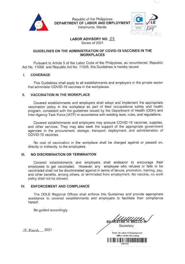 Labor Advisory no. 03 series of 2021