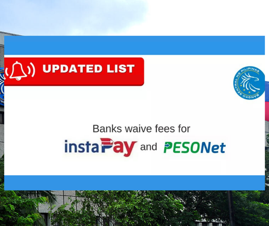 bank that waive fees for instapay and pesonet